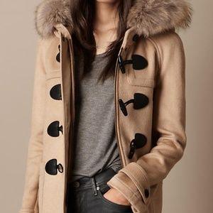 Burberry Brit Detachable Fox Fur Hood Duffle Coat